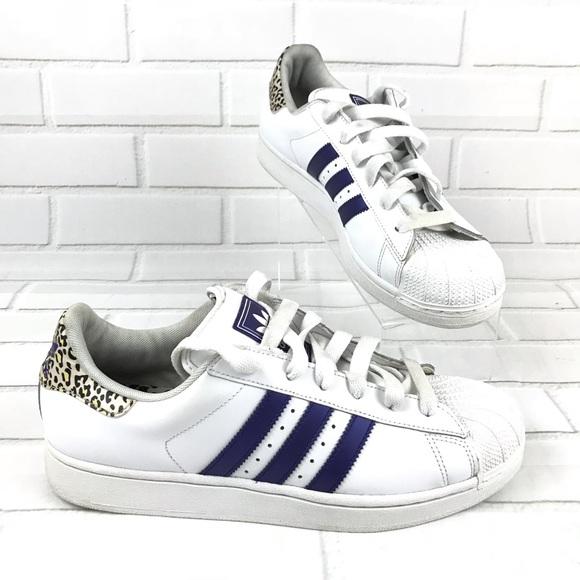 nouveau concept ecc1f 438d9 Adidas Superstar White and Leopard Cheetah mens 11